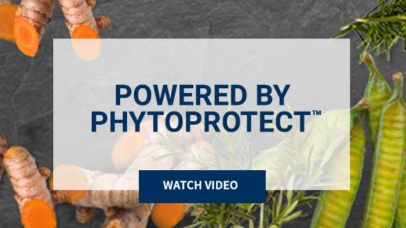 Powered by PhytoProtect™. Watch Video. Background image shows orange and green plants.