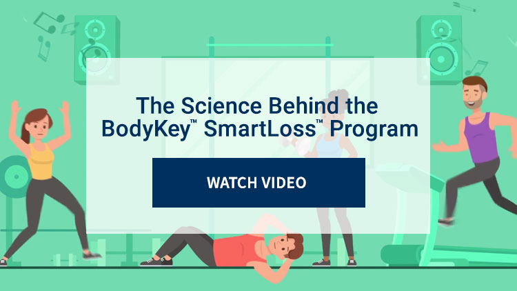 The science behind the BodyKey™ SmartLoss™ program. Watch Video. Background image shows animation of people working out.