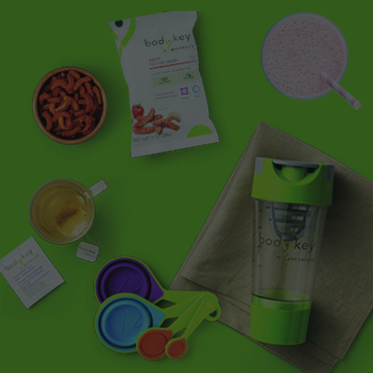 A variety of BodyKey products available in the SmartLoss starter bundle displayed on a green background.