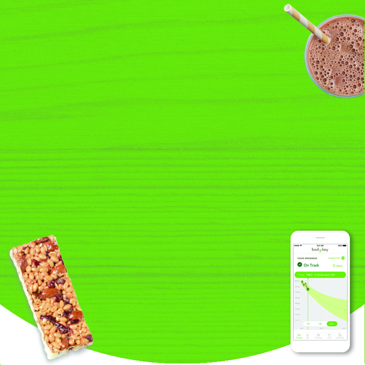 Background image shows smartphone displaying the BodyKey App, a Bodykey bar and a BodyKey meal replacement shake