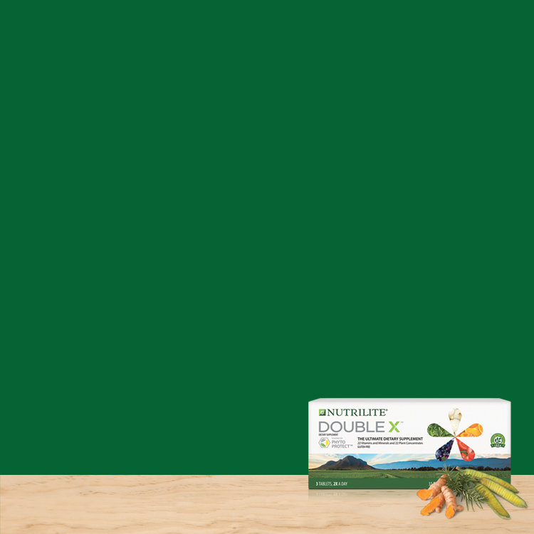 Nutrilite Double X product image on a green background.