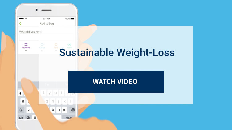 Sustainable Weight-Loss. Watch Video. Background image shows animation of BodyKey app displayed on smartphone.