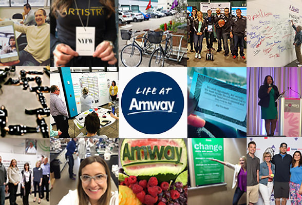 Images from #LifeAtAmway, highlighting Amway culture and employees.