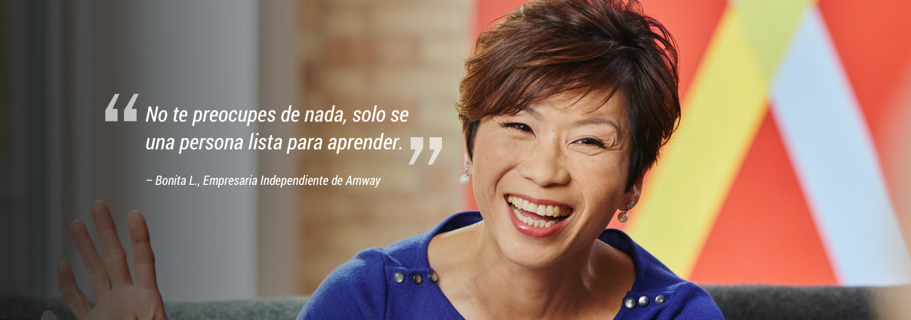 "Woman laughing. ""Don't worry about anything, just be a person ready to learn."" – Bonita L., Amway Independent Business Owner"