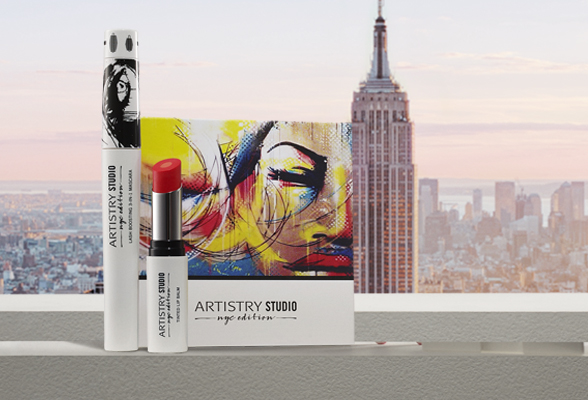 Artistry Studio NYC Edition Products infront of New York City skyline.