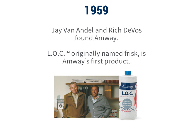 1959: Jay Van Andel and Rich Devos founded Amway. L.O.C.™, originally named Frisk, is Amway's first product.