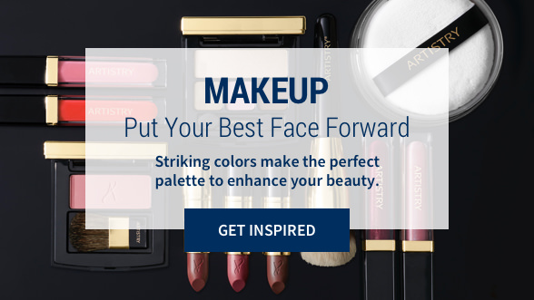 Makeup: Put your best face forward. Striking colors make the perfect palette to enhance your beauty. Get Inspired. Background image shows Artistry makeup including lipsticks, lip gloss, blush, eye shadow, and makeup brushes.