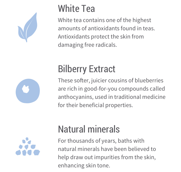 White tea – White tea contains one of the highest amounts of antioxidants found in teas. Antioxidants protect the skin from damaging free radicals. Bilberry extract –