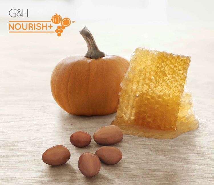 G&H Nourish™+ naturally-inspired ingredients: pumpkins, honeycomb, shea nuts.
