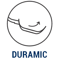 iCook™ Duramic™ icon showing a pan with an arrow curved upward to illustrate the slick nature of the surface.