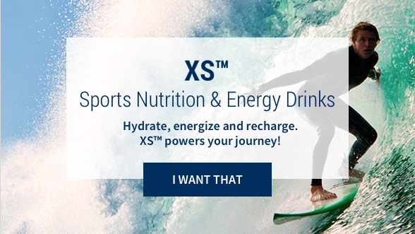 XS™ Sports Nutrition & Energy Drinks: Hydrate, energize and recharge. XS powers your journey! I want that. Background image shows a man surfing in the ocean.