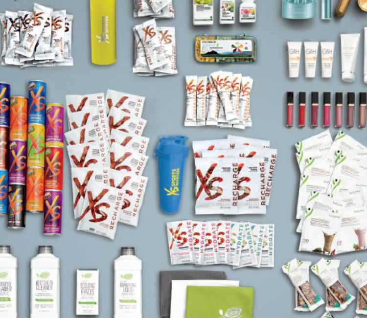 Various Amway products from brands including: Nutrilite, XS, Legacy of Clean, Artistry, G&H, iCook.