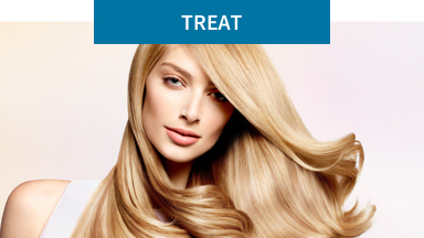 Treat: Energize and repair. Background image shows a woman smiling slightly and swinging her blonde hair.