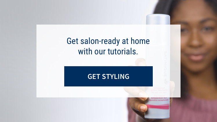 Get salon-ready at home with our tutorials: Get styling. Background image shows woman styling her hair.